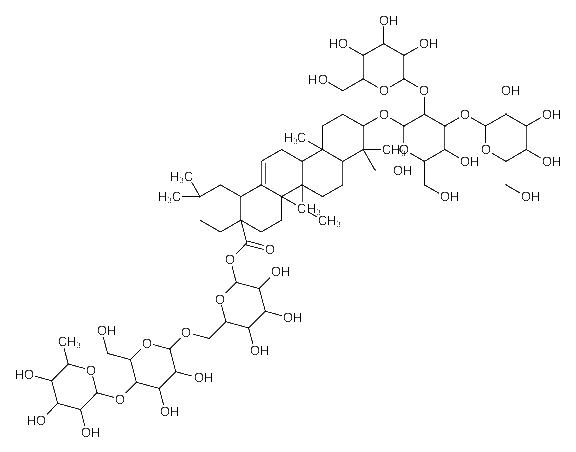 [6-[[<em>3</em>,4-dihydroxy-6-(hydroxymethyl)-5-(<em>3</em>,<em>4</em>,<em>5-trihydroxy-6-methyloxan-2-yl</em>)oxyoxan-2-yl]<em>oxymethyl</em>]-3,<em>4</em>,5-trihydroxyoxan-2-yl] 10-[5-hydroxy-6-(hydroxymethyl)-3,4-bis[[<em>3</em>,<em>4</em>,<em>5-trihydroxy-6-</em>(hydroxymethyl)<em>oxan-2-yl</em>]oxy]<em>oxan-2-yl</em>]oxy-9-(hydroxymethyl)-2,<em>2</em>,6a,6