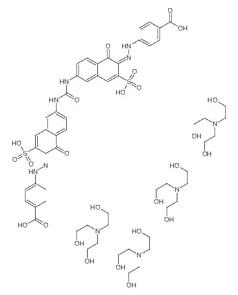 <em>2-</em>[bis(2-hydroxyethyl)amino]ethanol;4-[(<em>2E</em>)<em>-2-</em>[6-[[(6Z)-6-[(4-carboxyphenyl)hydrazinylidene]-5-oxo-7-sulfonaphthalen-2-yl]carbamoylamino]-1-oxo-3-sulfonaphthalen-2-ylidene]<em>hydrazinyl</em>]benzoic acid