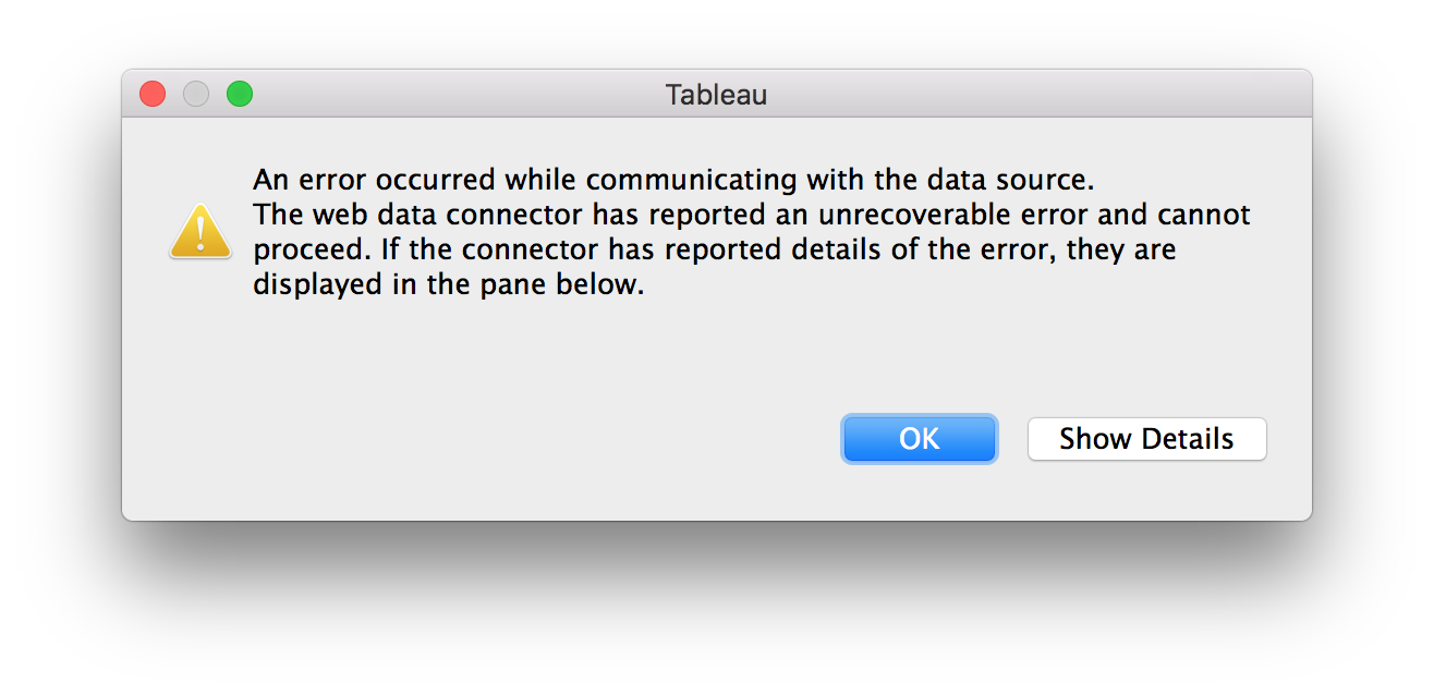 Tableau Exception Report