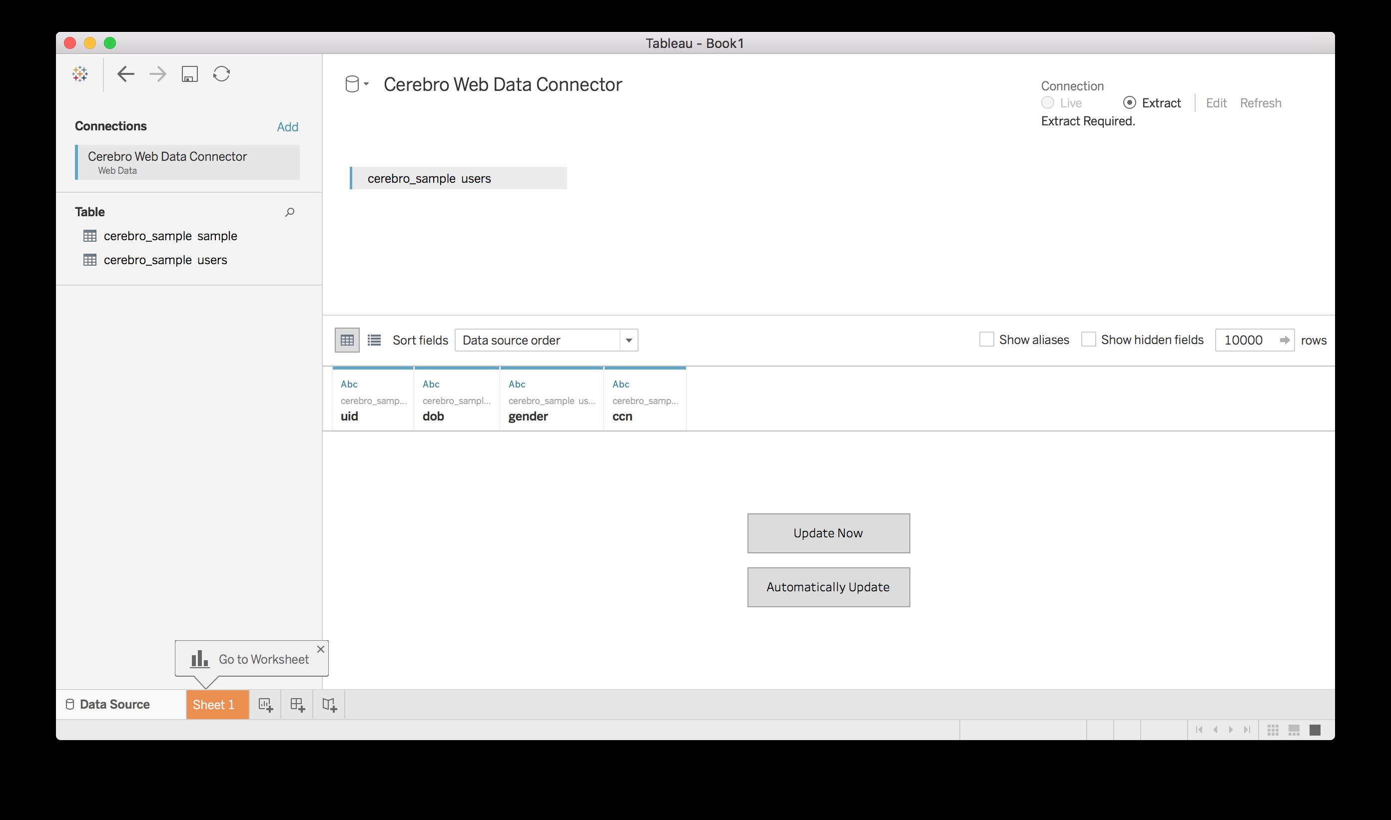 Tableau Web Data Connector Schema