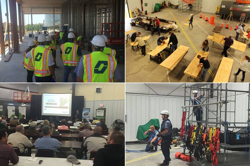 Training - 1. At construction site 2. Cutting wood in the facility 3. Classroom training 4. Repelling Training