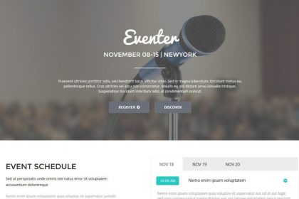 Eventer Landing Page