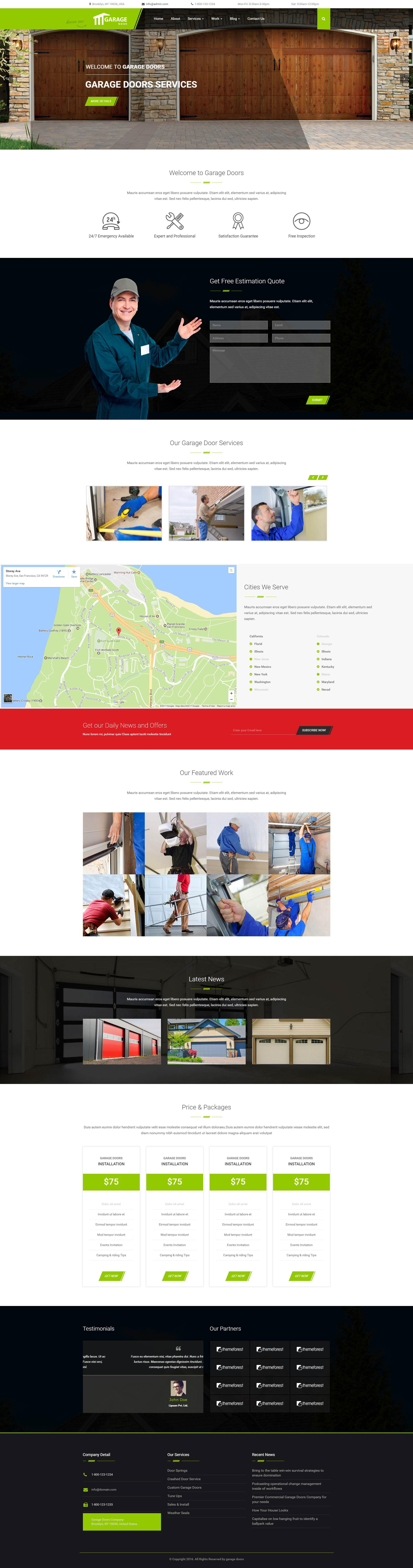 garage door wordpress theme garage door repair template ewebcraft