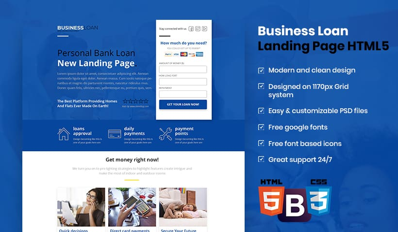 Best business loan landing page template for banking loan best business loan landing page template for banking loan providers flashek Image collections