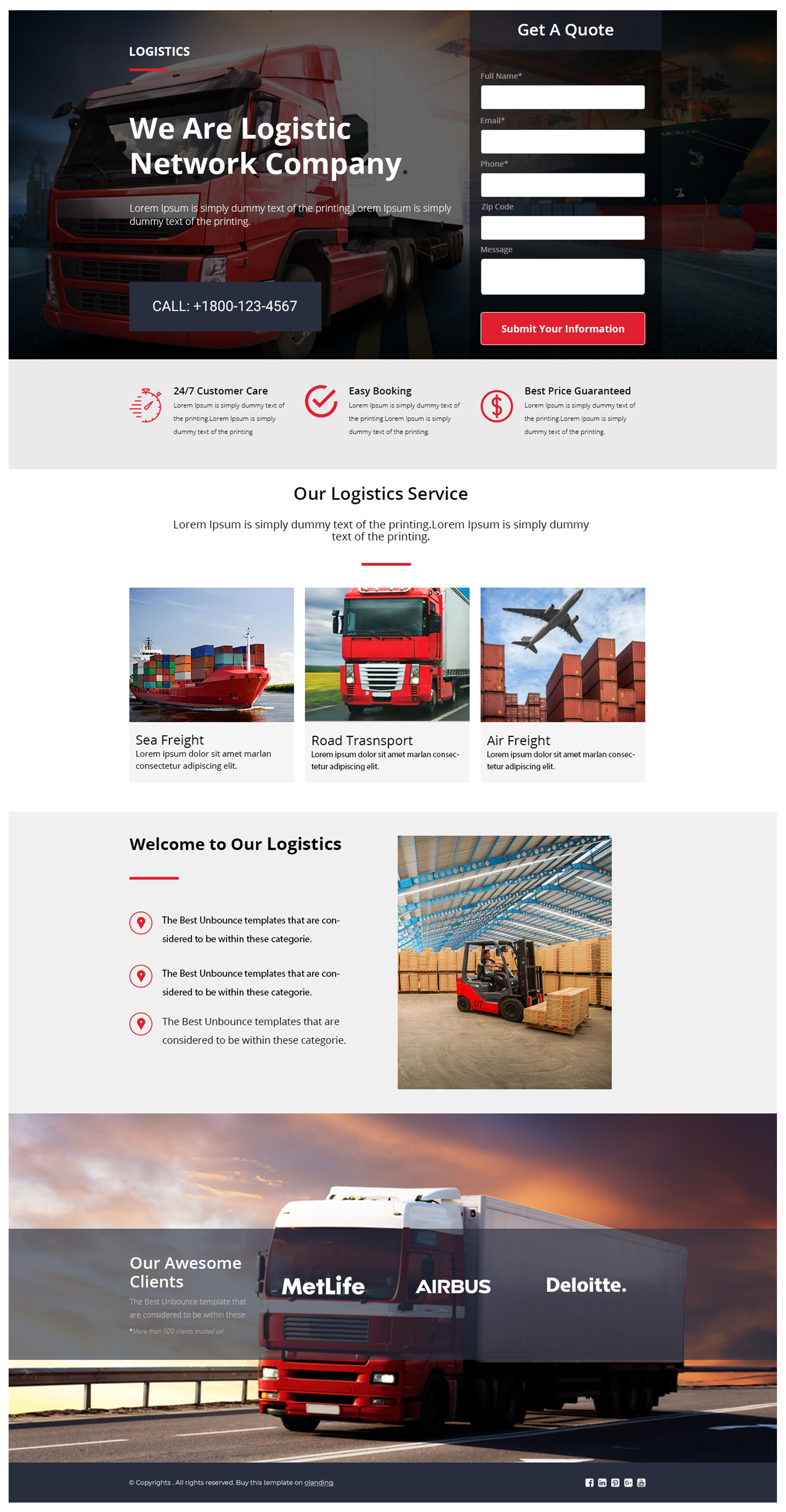 Best Logistics and Transportation Landing Page Template
