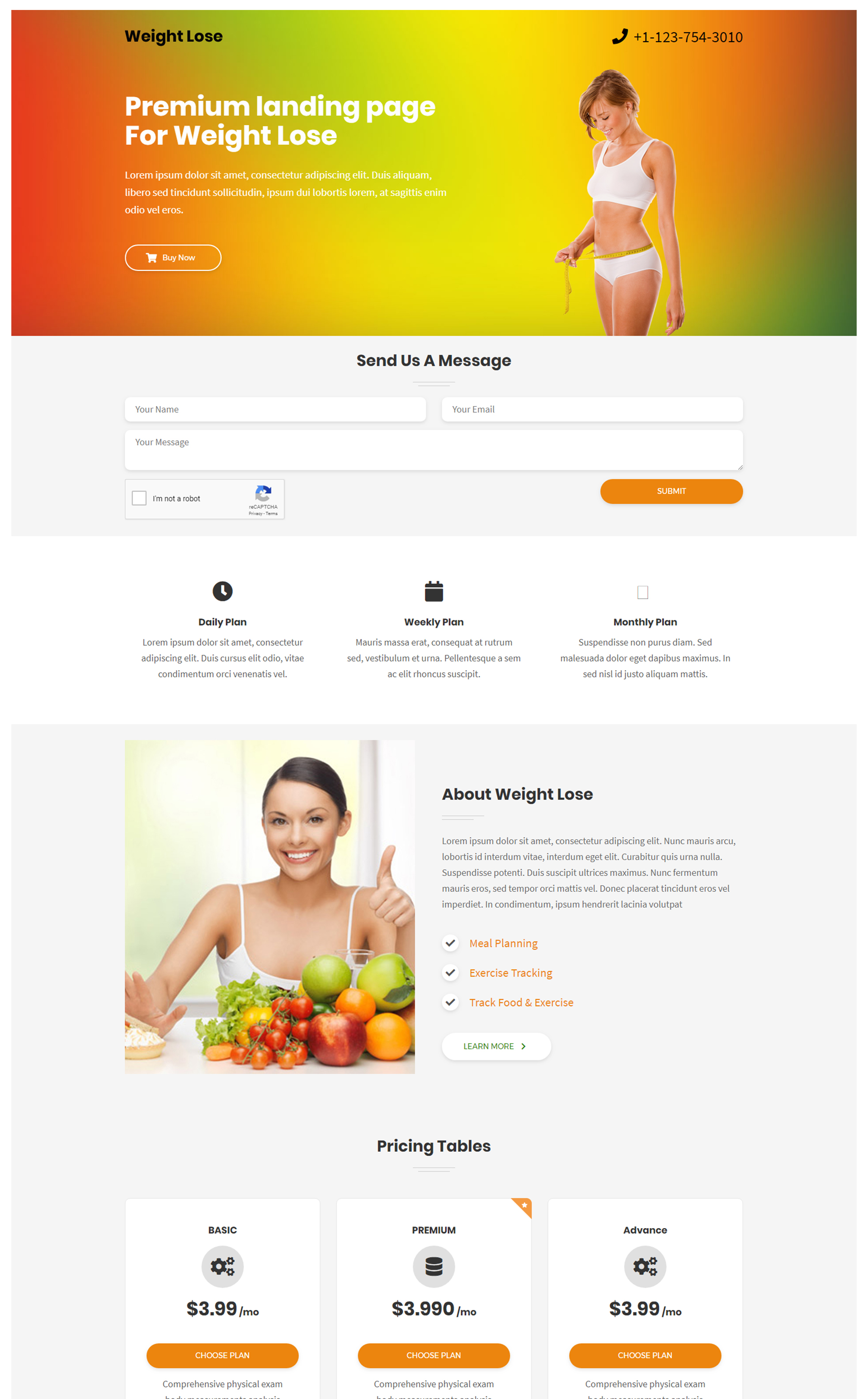 weight loss and health fitness html landing page template fully
