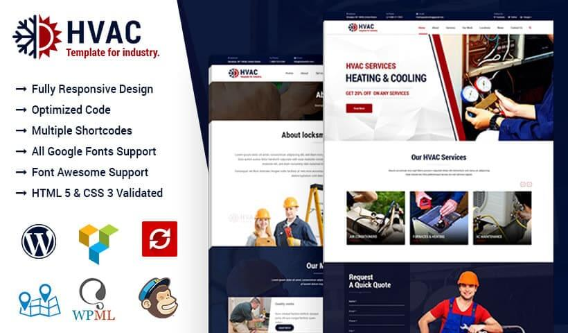hvac air conditioning heating and cooling wordpress theme