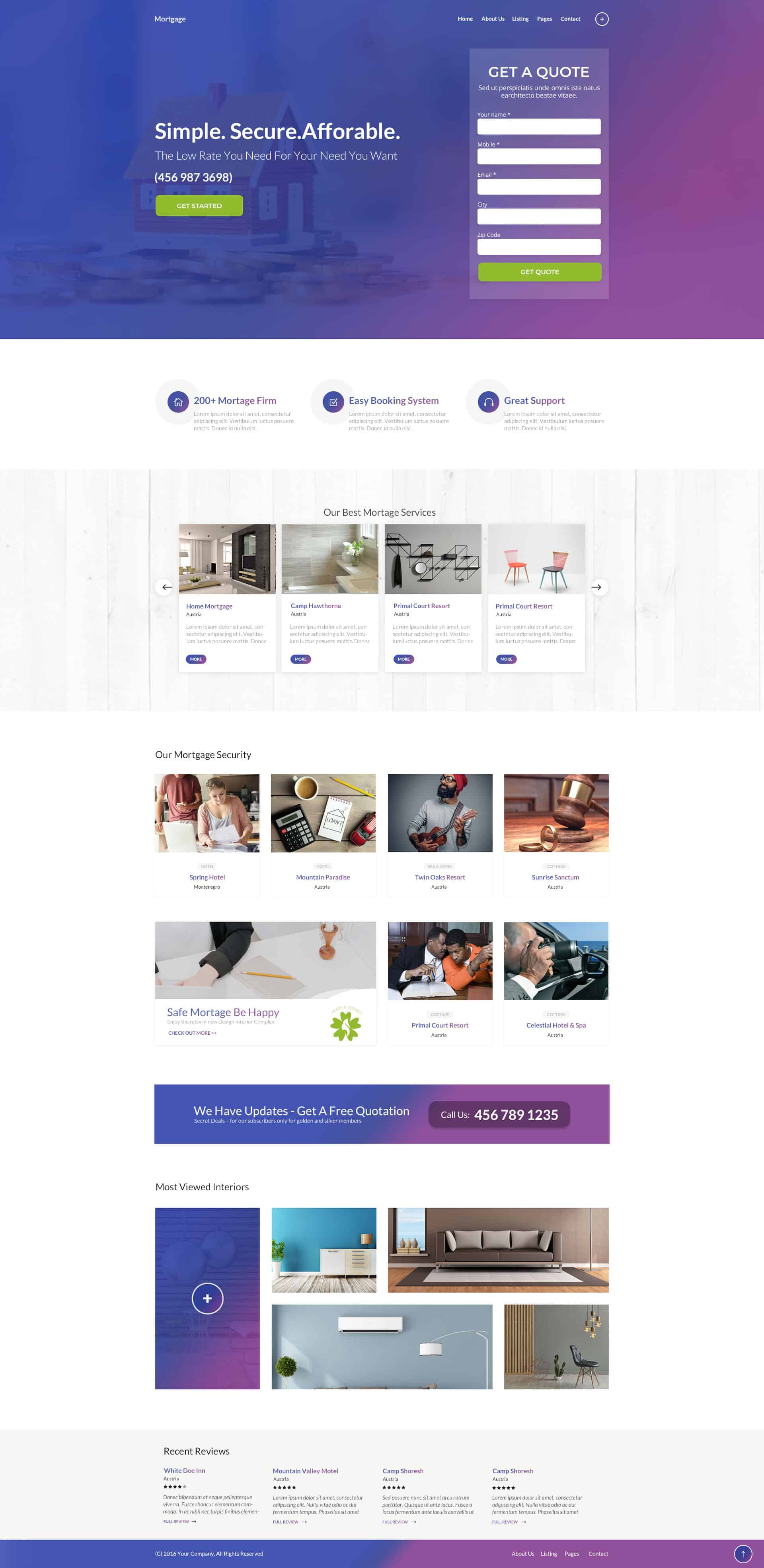 Professional Mortgage Landing Page Template For Loan Companies
