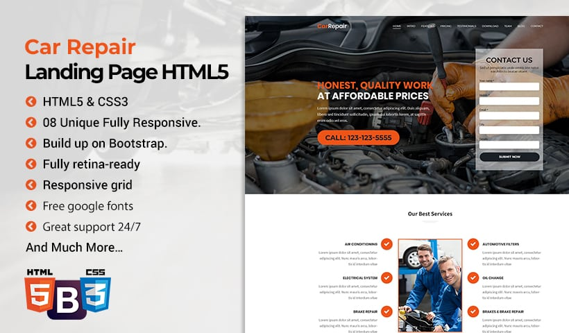 Auto Repair Landing Page