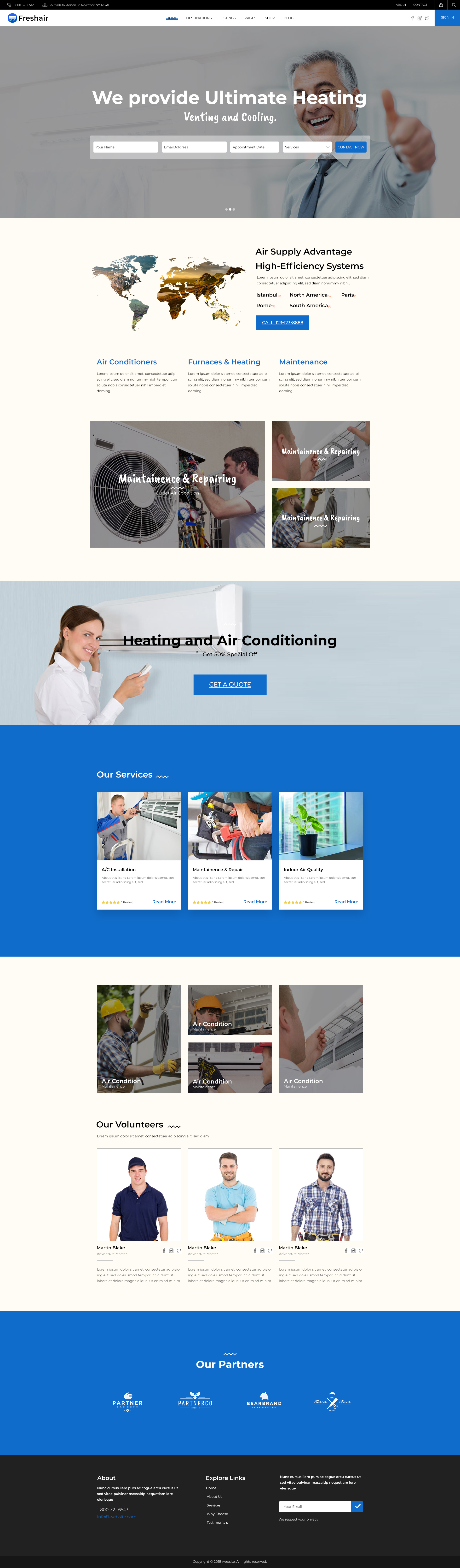 Air Conditioning And Heating WordPress Landing Page Theme For Maintenance and Services