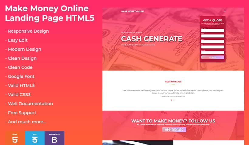Make Money Online HTML Landing Page Template - oLanding