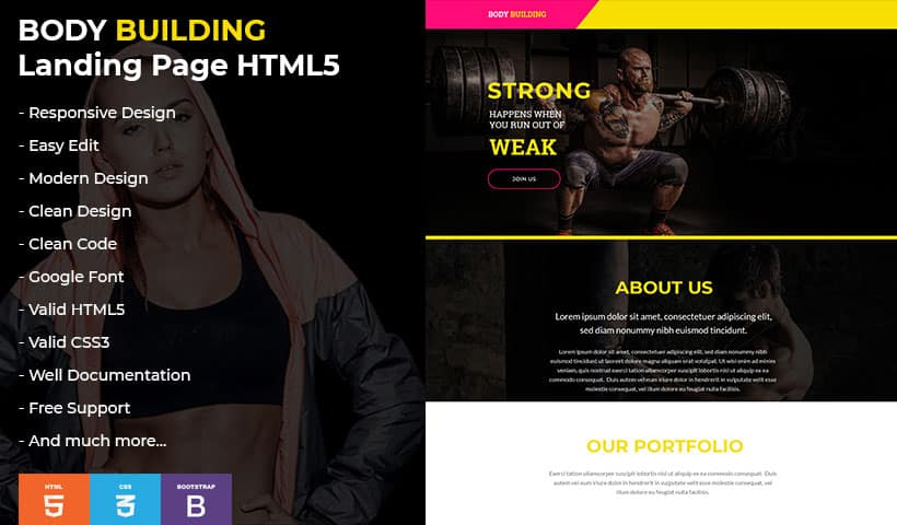 Bodybuilding V4 Landing Page Template