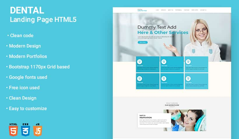 professional dental care wordpress landing page template for dentist