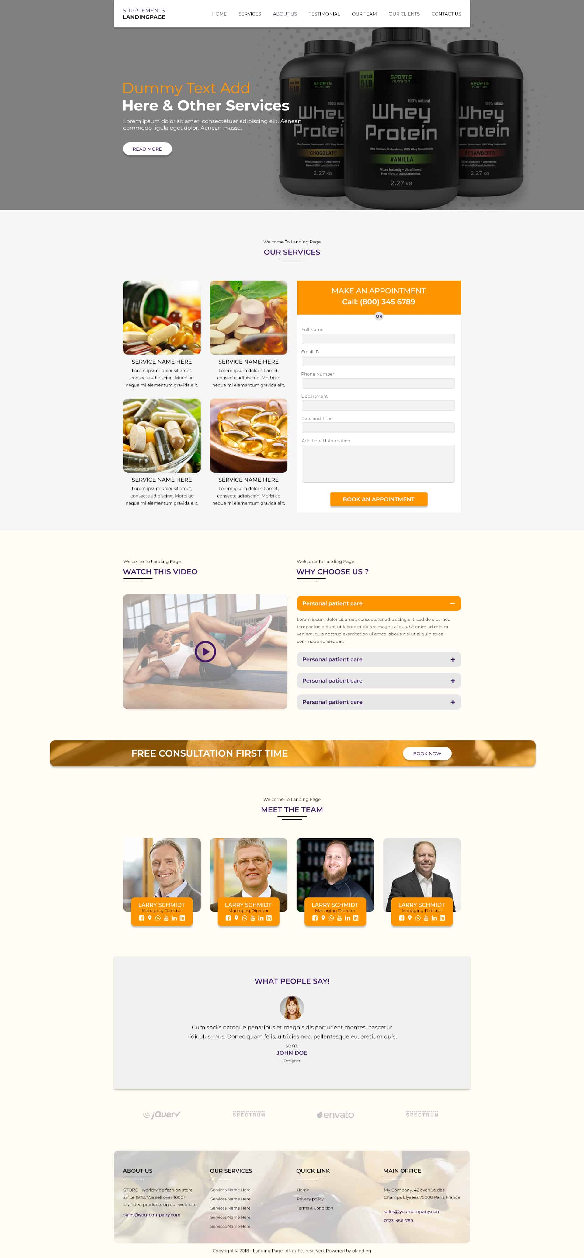 Supplements WP Landing Page