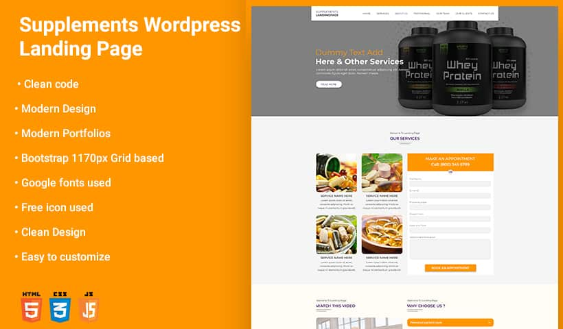 Supplements WP Landing Page Theme