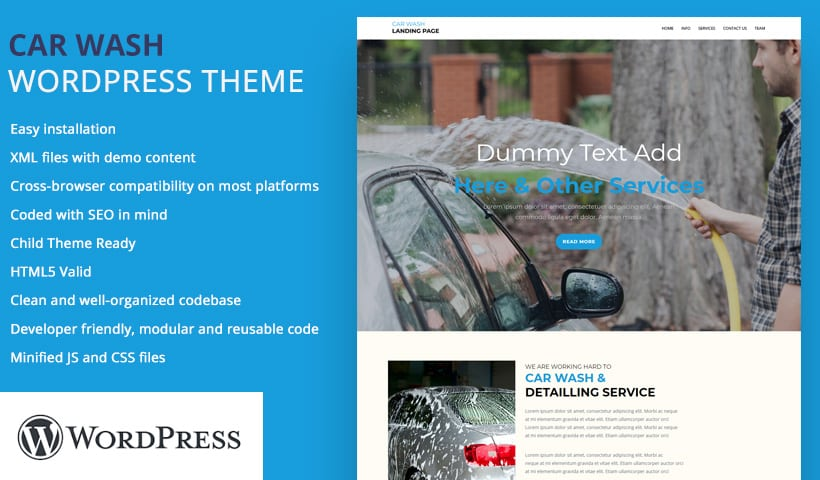 car wash WP landing Page Theme