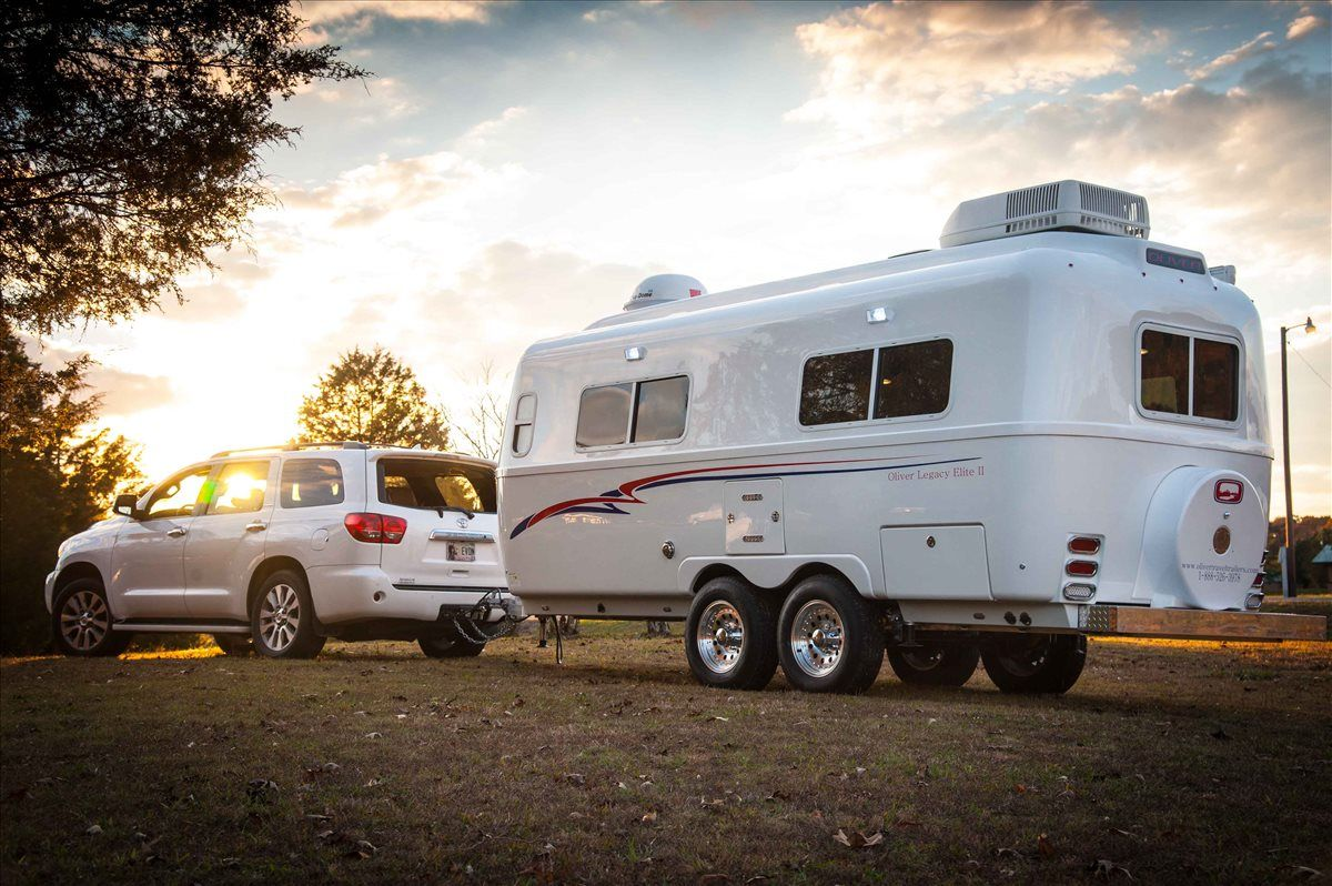 oliver travel trailers legacy elite 2 easy towing on a bright fall evening