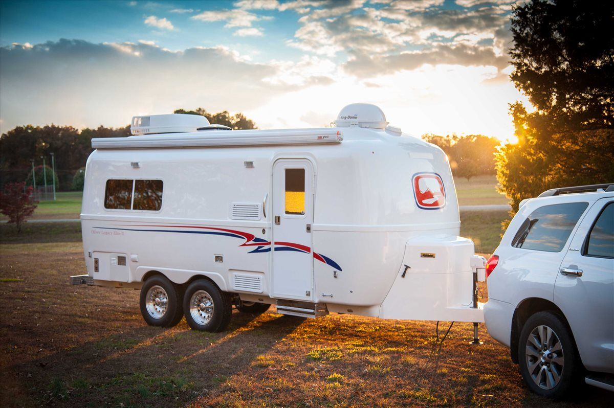 Oliver Travel Trailers Legacy Elite 2 Ease Of Towing During A Crisp Fall Evening