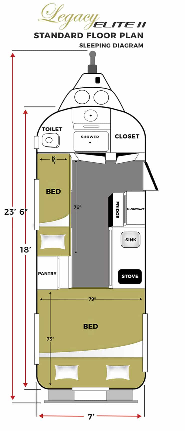 oliver travel trailers legacy elite 2 standard sleeping floor plan horizontal