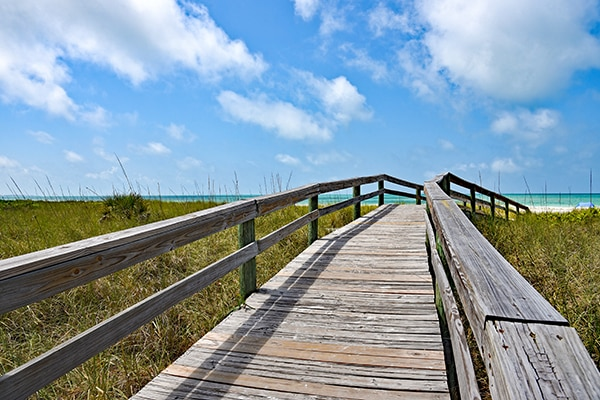 Wooden Beach Boardwalk leading to the white sandy Gulf Coast Beach