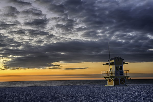 Clearwater Beach, Florida at Sunset on the west coast of florida.