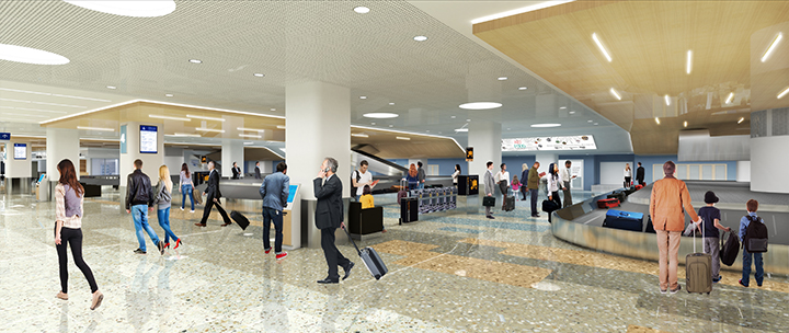 Rendering depiciting Terminal 1-Lindbergh's baggage claim level once construction is complete.