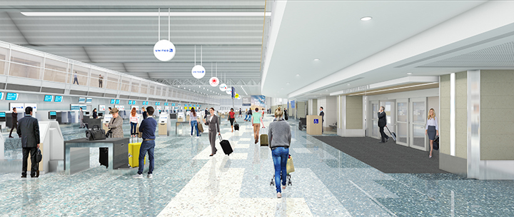Rendering depicting Terminal 1-Lindbergh's departure (or ticketing) level, looking north, once construction is complete.