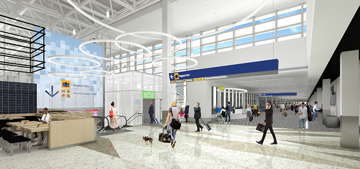 Rendering of new south security exit from Concourse G adjacent to Shoyu restaurant