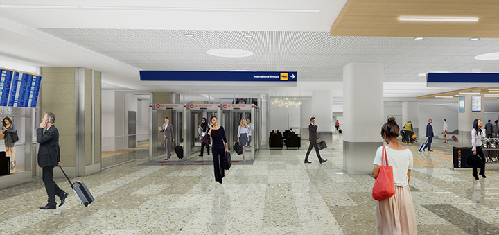 Rendering of where the new south security exit deposits passengers on the arrivals level