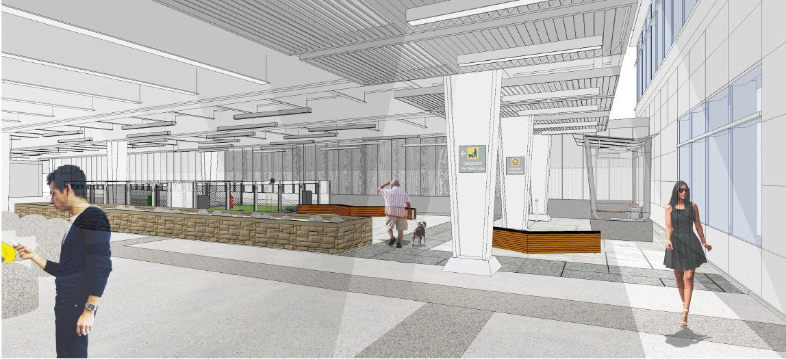 Rendering of new outdoor service animal and pet relief area at Terminal 1.