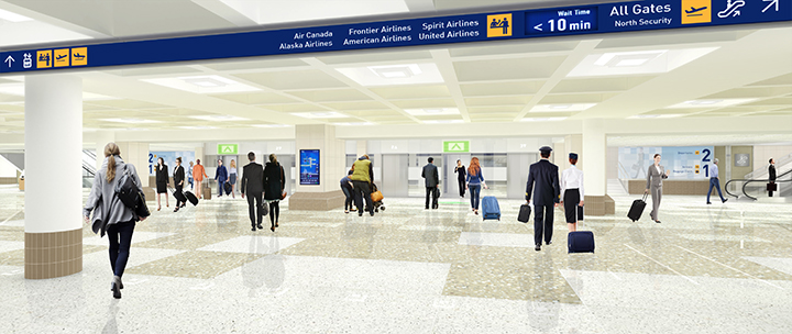 Rendering of Tram Level (one floor down from baggage claim)