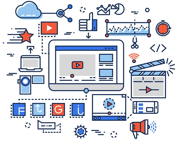 Video production, media digital marketing, clip and film-making vector concept with flat line icons. Media video, digital video development, production video illustration