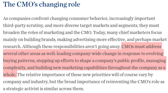 As The Screengrab Below From Mckinsey Quarterly Will Testify, The CMO Has  Been Held Increasingly Accountable For Delivering On Promises To Contribute  Not ...