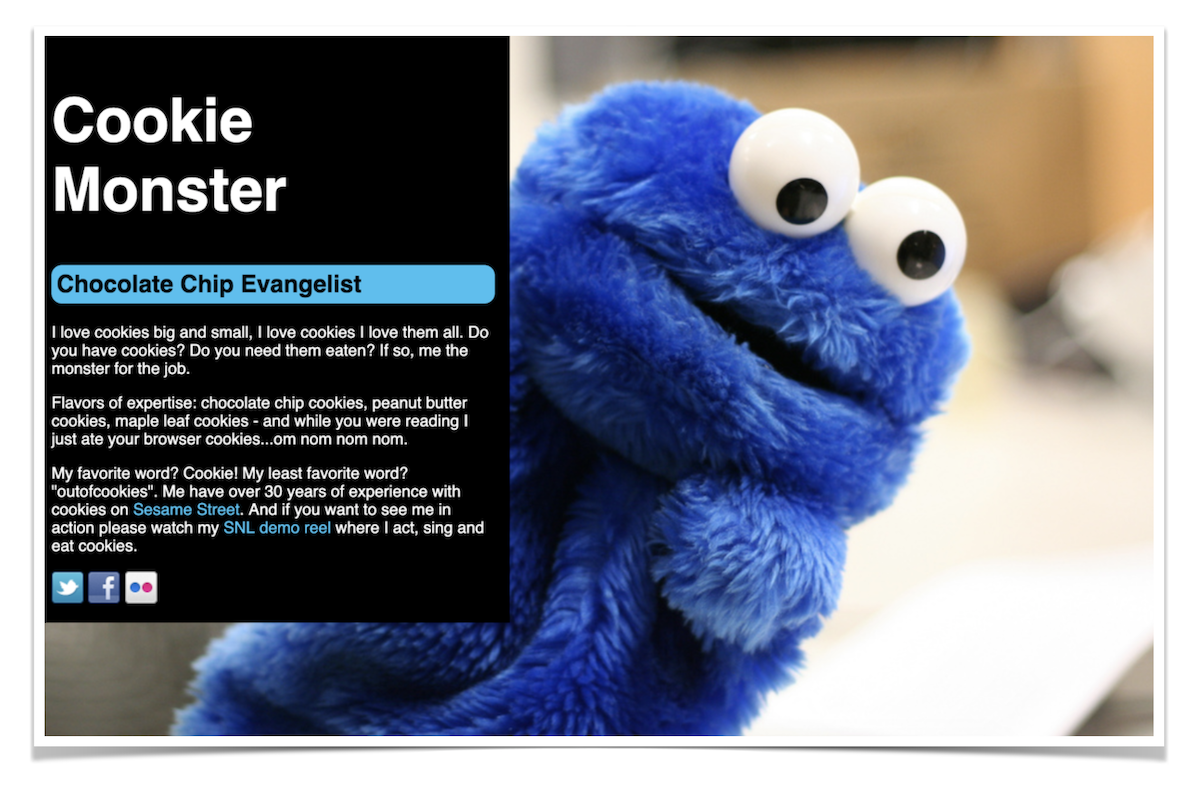 Learn to Code HTML Free Project: Cookie Monster Portfolio