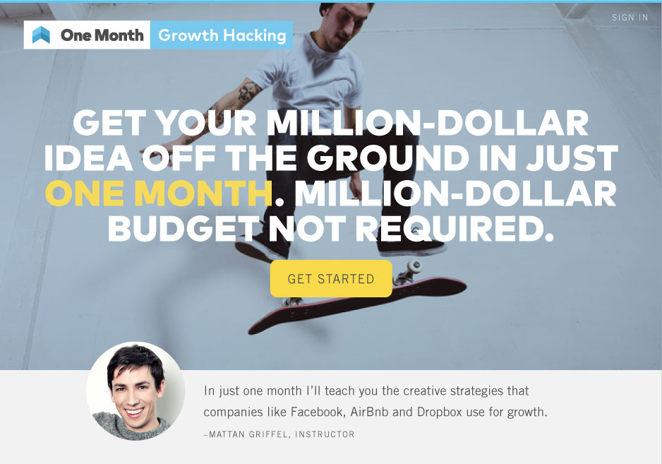 One Month Growth Hacking Landing Page
