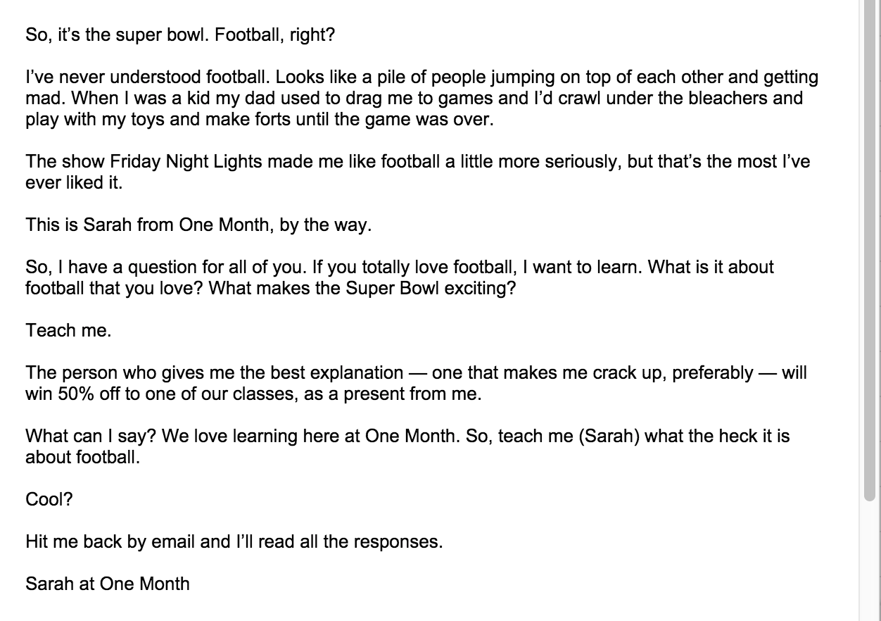 Football Email from Sarah at One Month