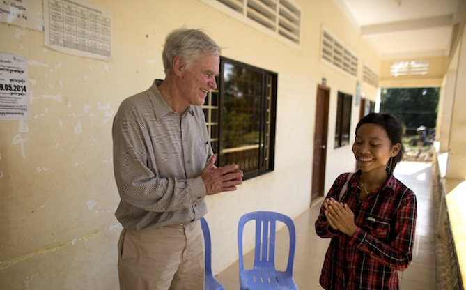 Rep. Crenshaw meets with a young woman named Uy Phon who is the president of her village's savings group. She used the savings to pay for a motorbike ride to the hospital to deliver her second child. Photo credit: Josh Estey.