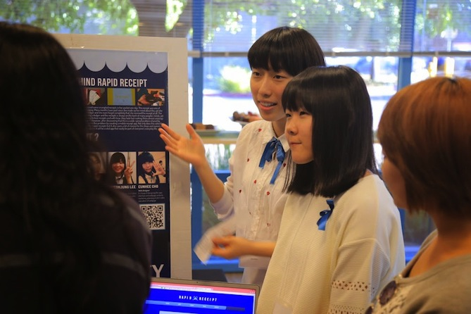 The girls behind Rapid Receipt explain their app at Technovation 2014.