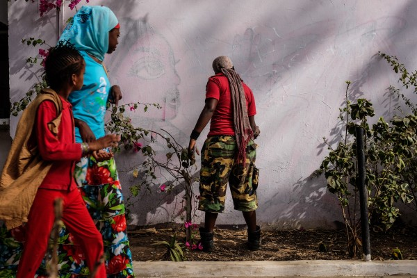 Dakar, Senegal (April 28) - Dieynaba Sidibe, Senegal's first female graffiti artist and a slam poet, 'bombs' a wall at the Africulturban Centre in Pikine, a suburb of the capital Dakar where hip hop artists gather.