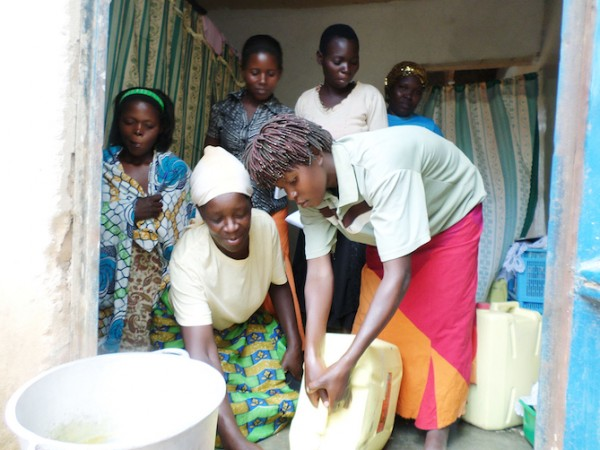 A group of women working together to make soap in Uganda. (Photo credit: Sundara)