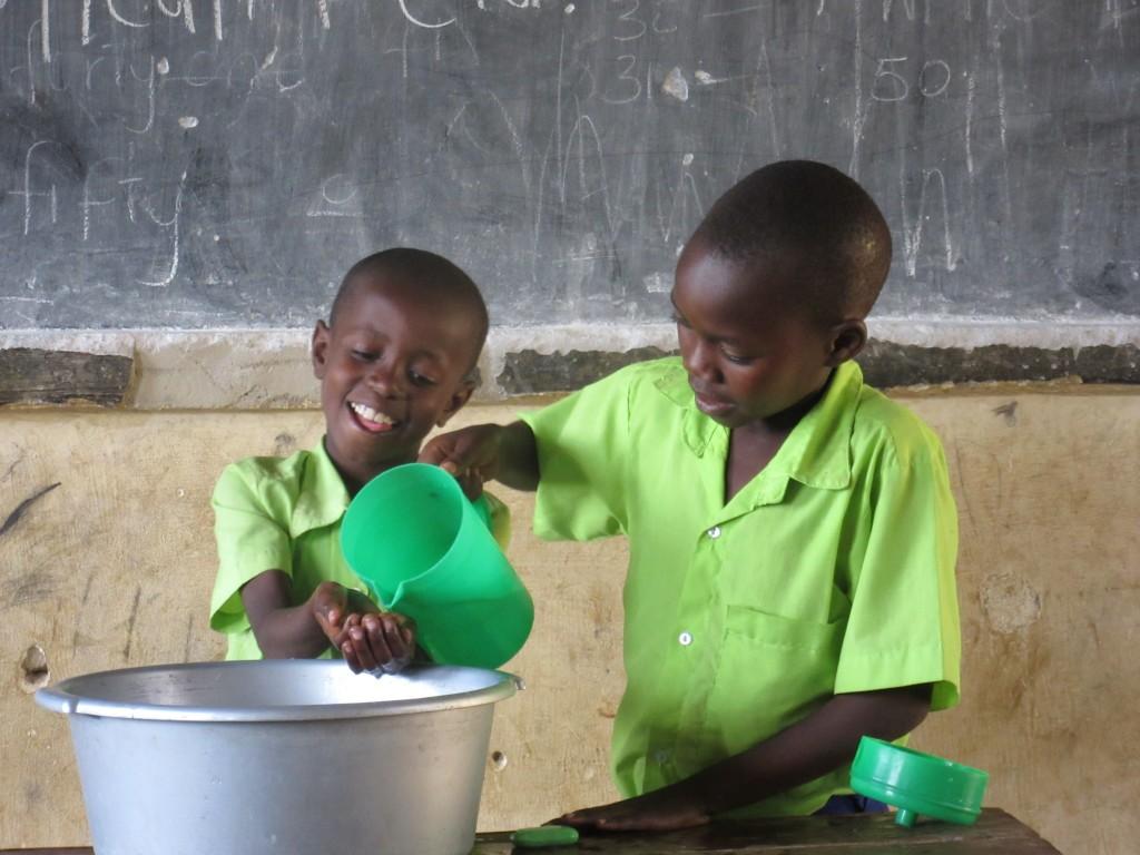 Schoolchildren at a Surge handwashing demo. (Photo credit: Surge)