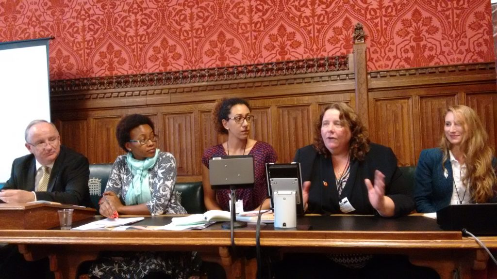 """Panelists from Results UK, Concern Worldwide, the University of Westminster, and the SUN Civil Society Network at the launch of the """"'What works for Nutrition? Stories of Success from Vietnam, Uganda, and Kenya"""" report, chaired by MP Laurence Robertson."""