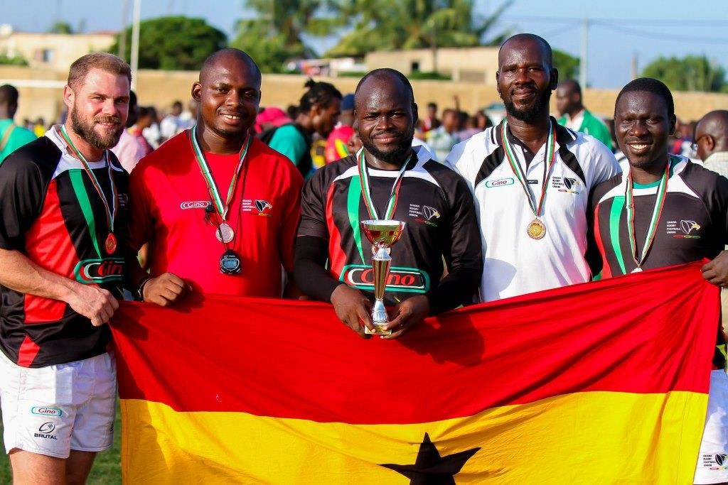 The Ghana national men's sevens Rugby team. (Photo credit: MMZANetworx/Wikimedia Commons)