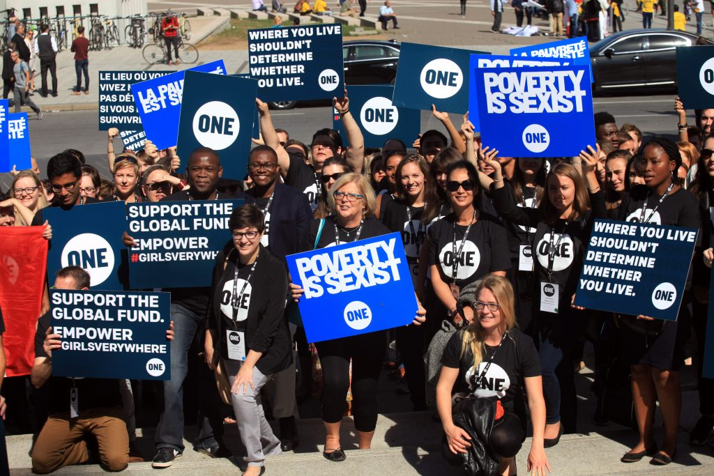 September 16, 2016: ONE.org rally at the Hyatt hotel. Photo by Dave Chan.