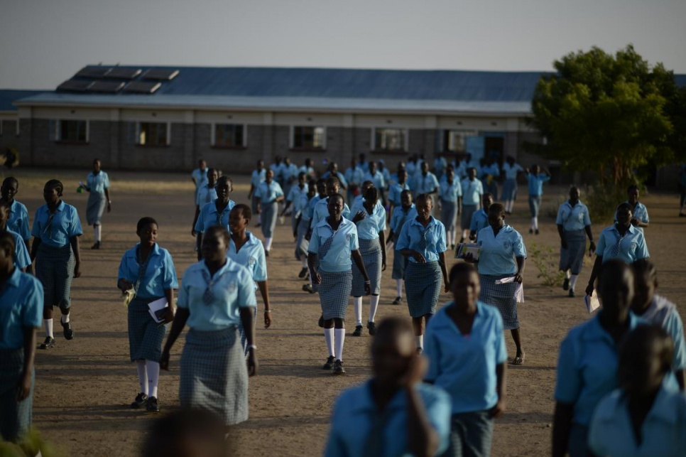Morneau Shepell is the only boarding school with modern facilities and solar lighting for girls in Kakuma camp. © UNHCR/Benjamin Loyseau