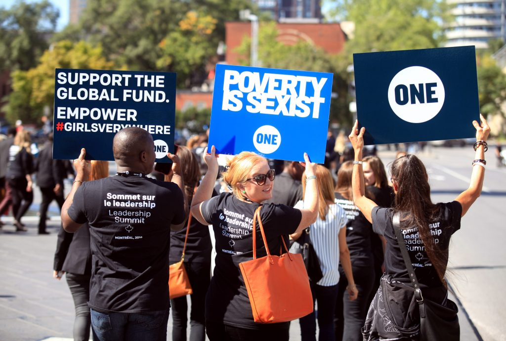 ONE members in Montreal rally for #GirlsEverywhere and #PovertyIsSexist on Friday, Sept. 16. (Photo credit: Dave Chan)