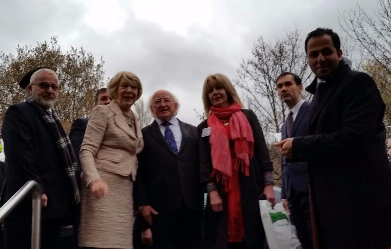 Sheila, center, with Ireland President Michael Higgins and his wife, Sabina, at an event in Dublin on November 21, 2016.