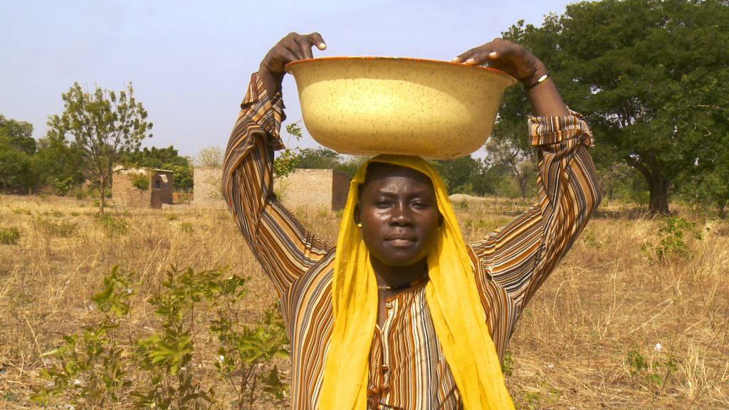 A woman pauses before continuing her journey for water in the arid plains of southern Chad.
