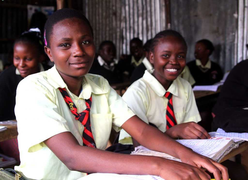 Female students in class at City Shine Secondary School.