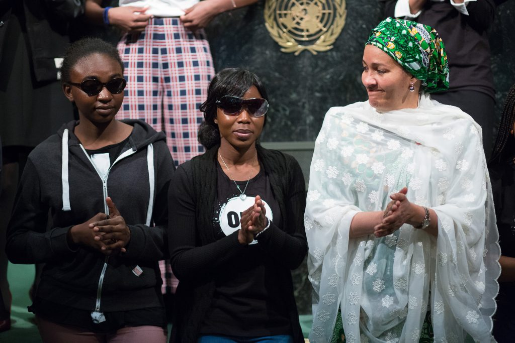 Two young women who escaped from Boko Haram made an appearance at the United Nations on International Women's Day 2016. (Photo credit: Johnny Wolf/ONE)